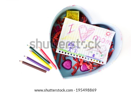 Child drawing of her mother for mother's day with pink box heart shape on white background .  - stock photo
