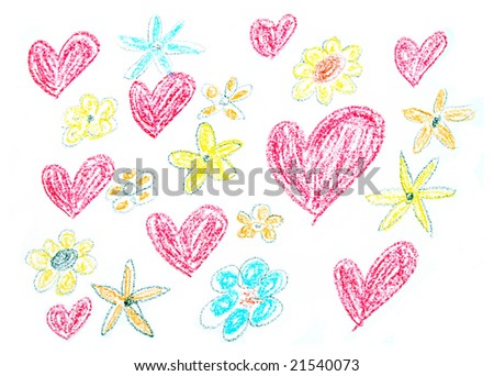 Child drawing of Valentine's Day background made with wax crayons