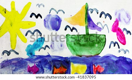 child drawing summer vacation - stock photo