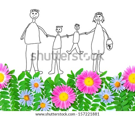 Child drawn happy family on real fresh spring green grass with pink and blue asters - stock photo