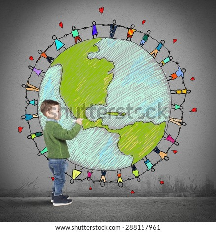 Child draws world with people holding hands - stock photo