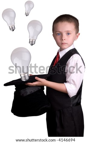 child dressed as a magician with hat full of ideas isolated over a white background - stock photo