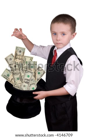 child dressed as a magician with hat full of money isolated over a white background - stock photo