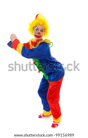 child dressed as colorful funny clown over white background