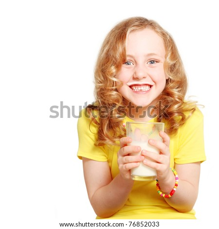 child drinking milk healthy teeth and smiling - stock photo