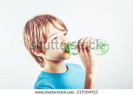 child drinking water - stock photo