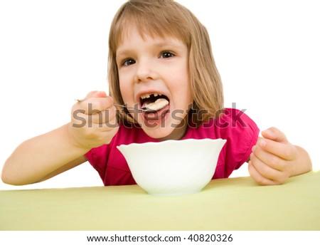 child eat - stock photo