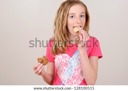 Child eating junk food