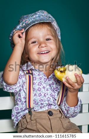 Child eats fruit