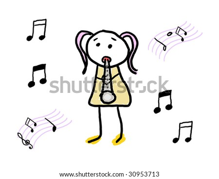 Child enjoying her musical instrument - stock photo
