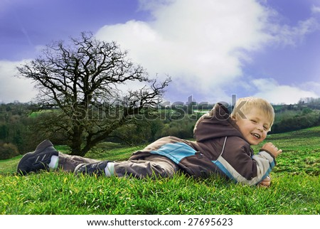 Child enjoying the great outdoors. - stock photo