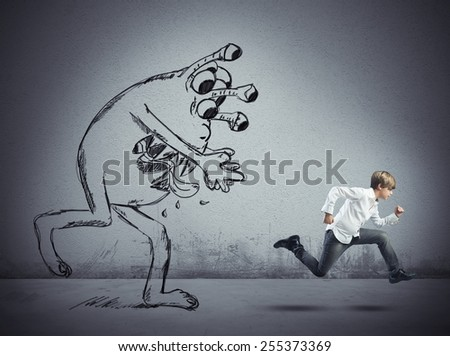 Child escapes from a bad flu virus - stock photo