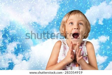 Child, Excitement, Ecstatic. - stock photo