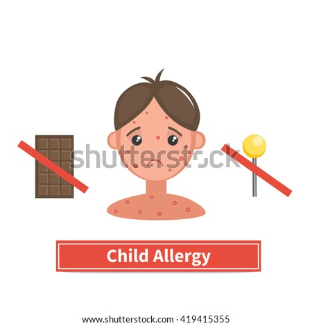 Child face covered by acne, allergy symptoms. Child allergy and child acne. Concept illustration isolated on white background. Flat cartoon style. - stock photo