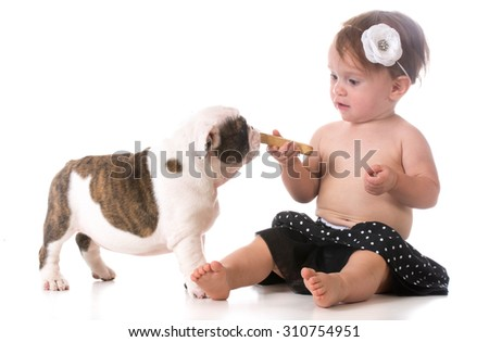 child feeding a puppy a dog bone - stock photo