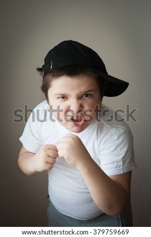 child fight boxing agression kid boy - stock photo