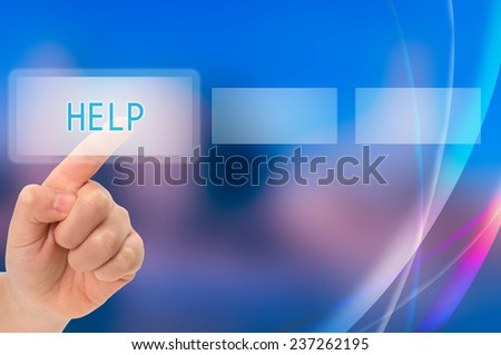 Child finger touching help button on a virtual screen - stock photo