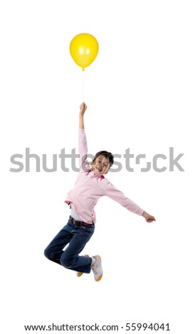 Child flying with yellow balloon inflated isolated on white background - stock photo