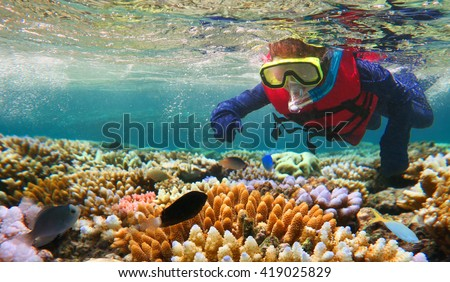 Child (girl age 5-6) snorkeling dive in the Great Barrier Reef in the tropical north of Queensland, Australia - stock photo