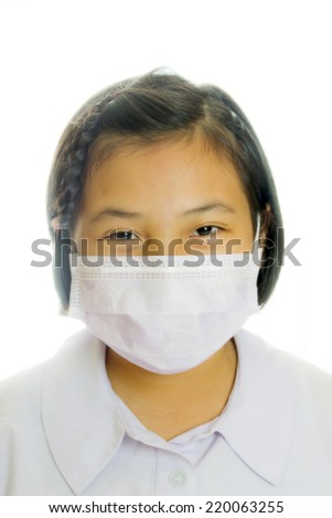 child girl asian with a surgical mask high key