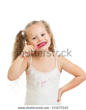 child girl cleaning teeth isolated on white background - stock photo