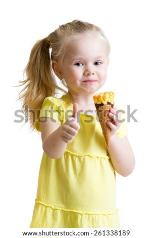 child girl eating ice-cream and showing okay sign isolated - stock photo