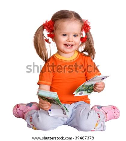 Child girl in orange t-shirt with money euro. Isolated. - stock photo