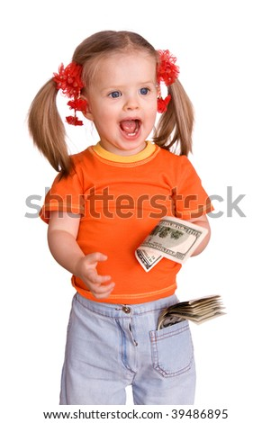 Child girl in orange with dollar money. - stock photo