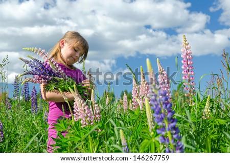 Child girl in summer flower field - stock photo