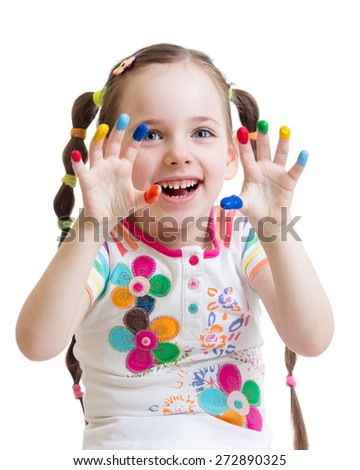 child girl with color painted hands isolated - stock photo