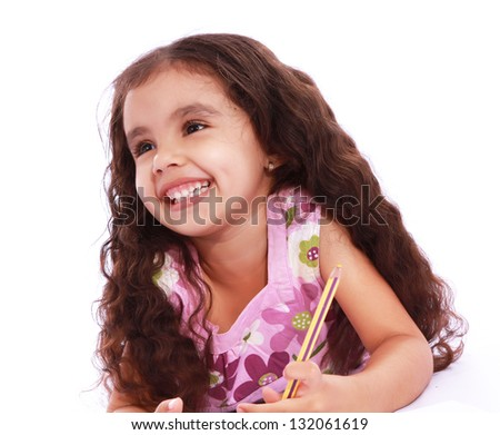 Child girl with pencils and paper over white background