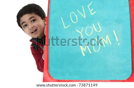 Child Greets Mom on Mothers Day - stock photo