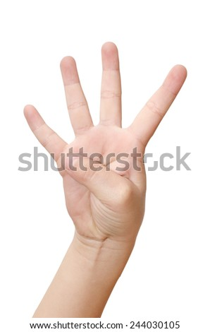 Child hand is showing four fingers isolated on white background - stock photo