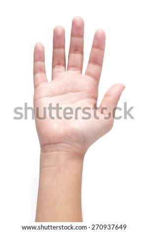 Child hand isolated on white background. - stock photo