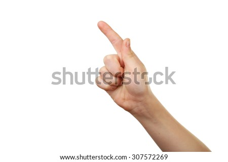 Child hand on white background