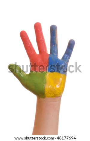 Child hand painted in colorful paints isolated on white