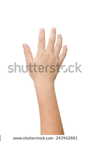 Child hand showing the five fingers isolated on a white background  - stock photo