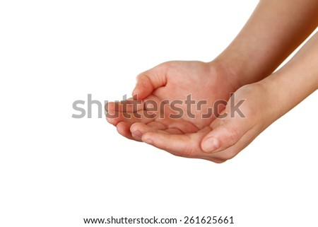 Child hands on white background - stock photo