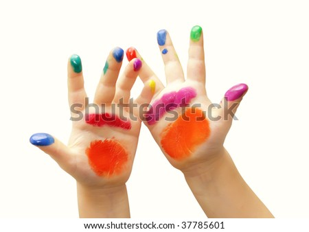 Child hands painted in colorful paints - stock photo
