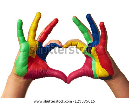 child hands painted make a heart shape - stock photo