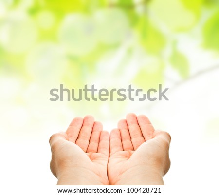 child hands ready to catch or to hold something over green natural background - stock photo