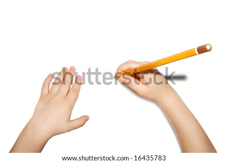 child hands with pencil isolated