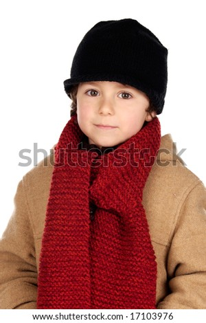 Child handsome very warm with hat and scarf wool on a white background - stock photo