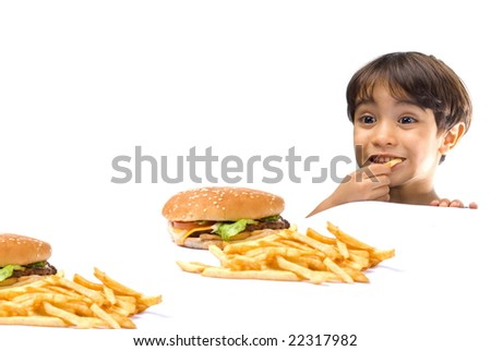 Child Happy with fast food on white background . - stock photo