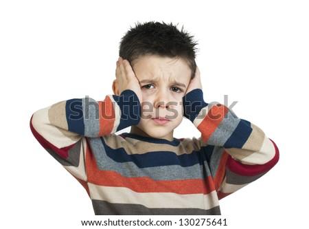 Child have headache. White isolated studio shot - stock photo