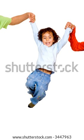 child having fun with his parents isolated over a white background - stock photo