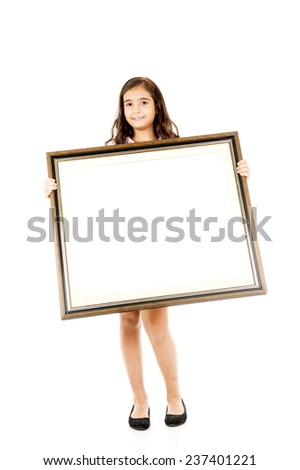 Child holding a frame over white background. - stock photo