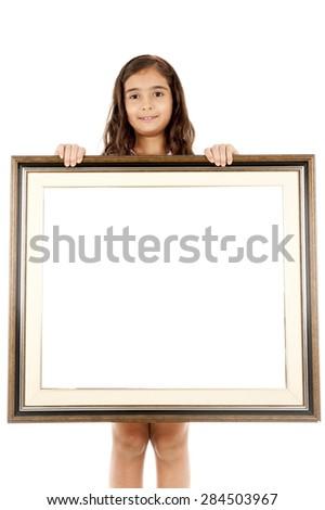 Child Holding Frame Over White Background Stock Photo (100% Legal ...