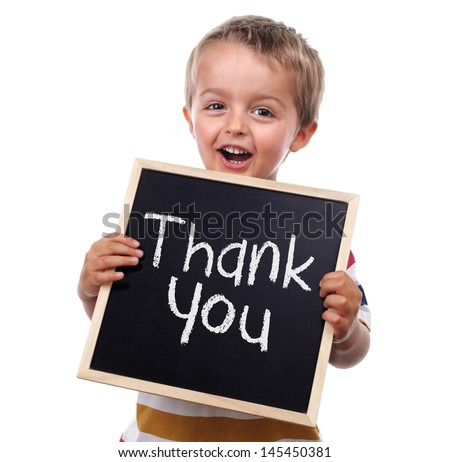 Child holding a thank you sign standing against white background - stock photo