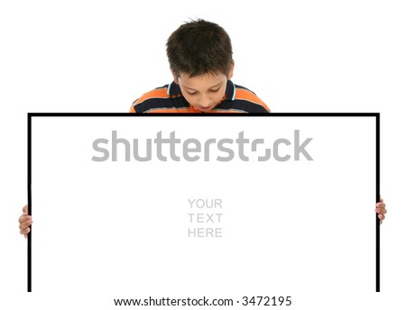 Child holding an empty sign over a white background